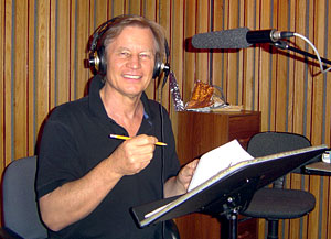 Michael York in the recording studio