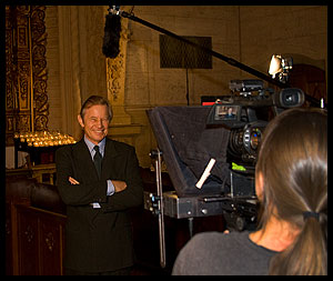 Michael York on the set of Testimony